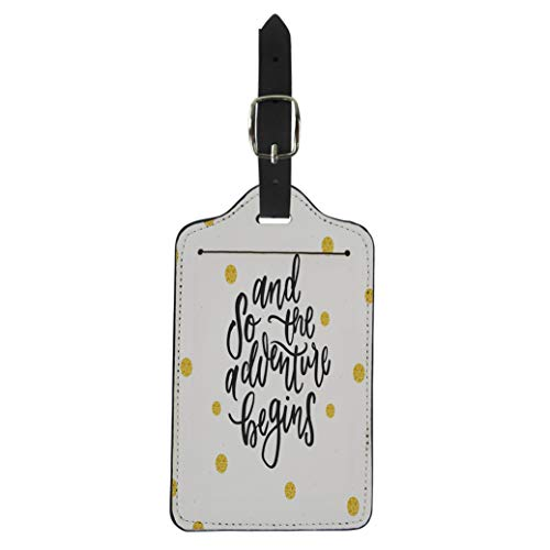 (Pinbeam Luggage Tag Farewell and So the Adventure Begins Calligraphic Suitcase Baggage Label)