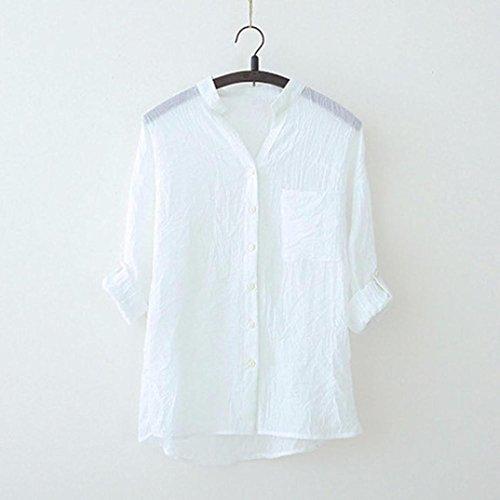 en CIELLTE Branch Chemisier Longues Sleeve Femme Printemps T Shirts Chic V Chemise Blouse Encolure Blanc Automne Manches Dcontracte Simple T1nfwPTx