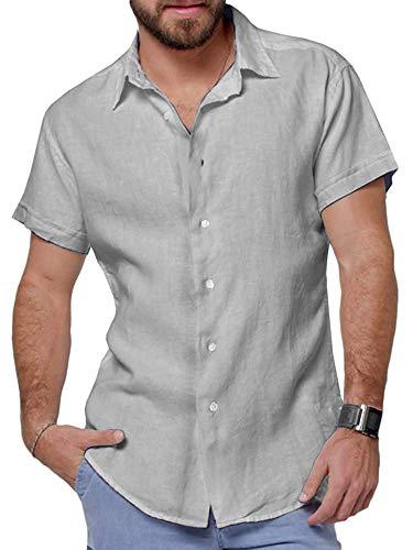 (Mens Short Sleeve Shirts Button Down Linen Beach Summer Tops Lightweight Fishing Tees Spread Collar Plain Casual Shirt)