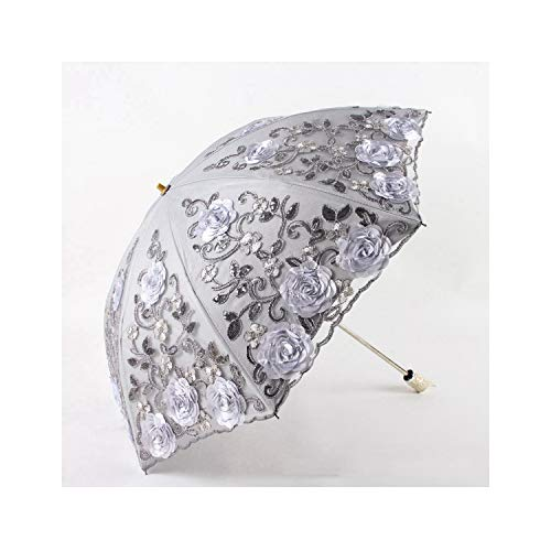 Exquisite Umbrellas Lace Embroidery Uv Beach Umbrella Folded Flower Rose Sun Umbrella Rain Women Parasol,As Picture