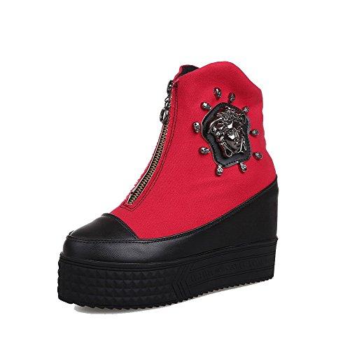 AgooLar Women's Blend Materials Low-top Assorted Color Zipper High-Heels Boots Red nNKmeFrJnL
