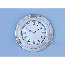 Brushed Nickel Deluxe Class Porthole Clock 12 - Nautical Wall Clock - Clock De