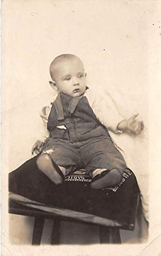 People and Children Photographed on Postcard, Old Vintage Antique Post Card Young child sitting on a pillow David Bartholio Jr Writing on back