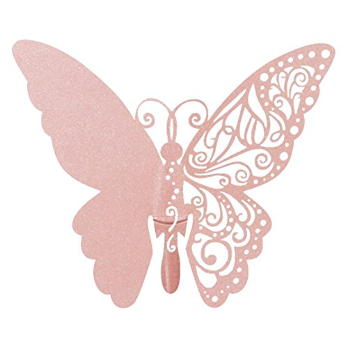 BB67 50 PCS Butterfly Laser Cut Paper Place Card/Escort Card Cup Card Wine Glass Card For Wedding Party Decoration (Pink) ()