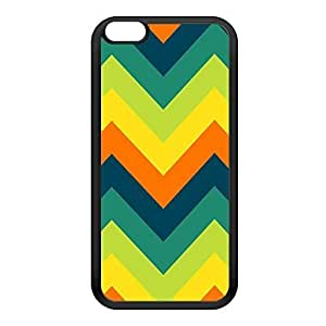 Green and Orange Chevron Pattern Black Silicon Rubber Case for iPhone 6 Plus by UltraCases + FREE Crystal Clear Screen Protector
