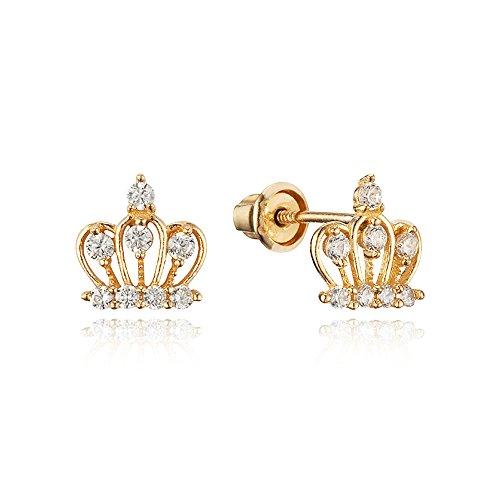 14k White Gold Crown - 14k Yellow Gold Crown Cubic Zirconia Children Screwback Baby Girls Earrings