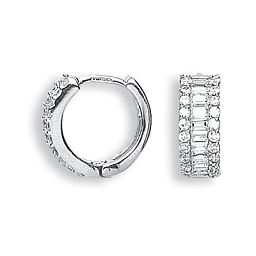 Or blanc 9 ct CZ Huggies Boucles d'oreilles 3.3 G