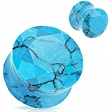 Turquoise Precious Stone Faceted Gem Double Flared Freedom Fashion Plug (Sold by Pair)