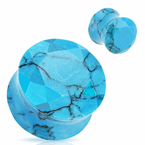 Freedom Fashion Turquoise Precious Stone Faceted Gem Double Flared Plug (Sold by Pair) (Double Cut Stone Tunnel)