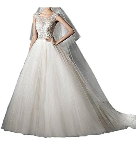 Milano Bride Wunderschoen Rundkragen Strass Hochzeitskleider Brautkleider Tuell Brautmode Damen