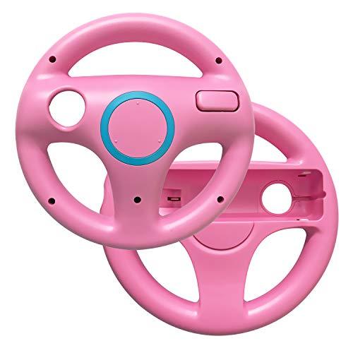 (AreMe 2 Pack Mario Kart Racing Steering Wheel for Nintendo Wii Remote Controller (Pink))
