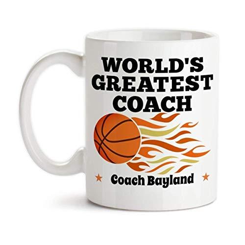 Personalized Worlds Greatest Basketball Coach Monogrammed Ceramic Coffee Mug