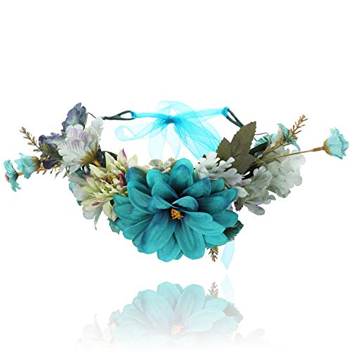 Flower Crown Headband Floral Headpiece - New Bohemian Ribbon Adjust Flower Hairbands Party Wedding Hair Wreaths (Blue) -