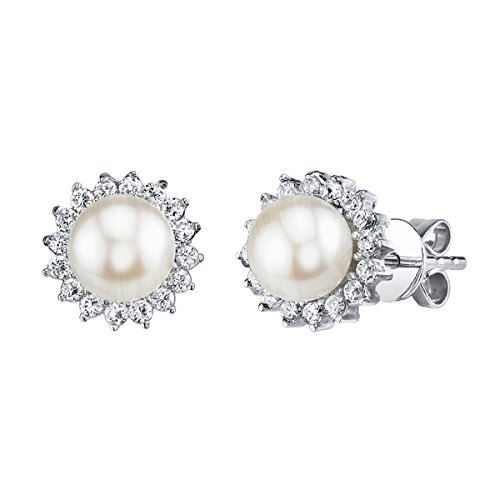 THE PEARL SOURCE 7-8mm Genuine White Freshwater Cultured Pearl Cubic Zirconia Ariela Earrings for Women