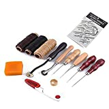 Leather Craft Hand Tools Kit for Hand Sewing Stitching, Stamping Set and Saddle Making (13pcs)