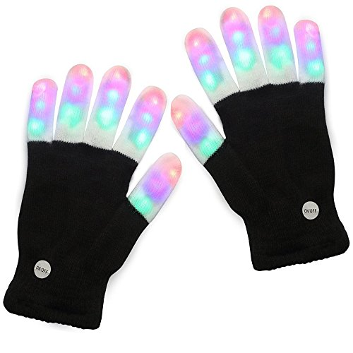 Latom LED Gloves Party Light Show Gloves 6 Modes Colorful Flashing Finger Lighting Rave Gloves - Black