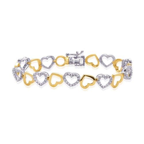 10K Two Tone Gold 3/4 ct. Diamond Heart Bracelet -
