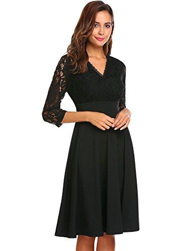 Zeagoo Women 3/4 Sleeve Full Zip Back A-Line Lace Cocktail Dress Black XL
