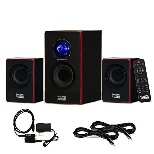 Acoustic Audio AA2103 Bluetooth Home 2.1 Speaker System with Optical Input and 2 Extension Cables by Acoustic Audio by Goldwood