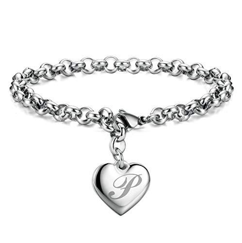 Initial Charm Bracelets Stainless Steel Heart 26 Letters Alphabet Bracelet for ()