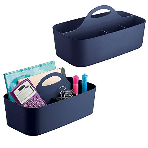 mDesign Plastic Office Storage Organizer Caddy Tote with Handle for Cabinet, Countertop, Desk, Workspace - Holds Erasable Pens, Colored Pencils, Washi Tape, Notebook - Large, 2 Pack - Navy Blue