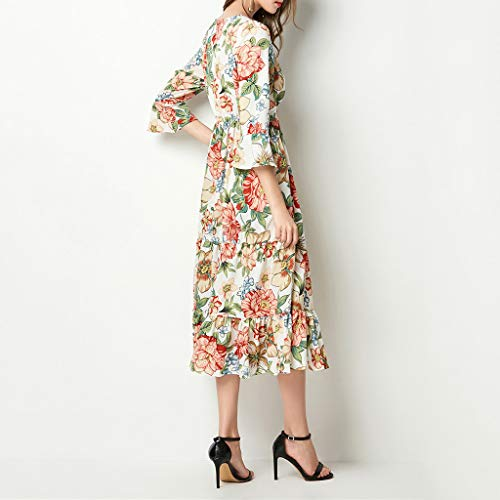 A-Line Printed Ruffled Dress,Hurrybuy Women Elegant V-Neck Knee-Length Vintage Holiday Dress Orange by Women's Blouse (Image #6)
