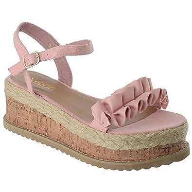 Miss Image UK para Mujer de Mujer Forma Plana Corcho Alpargatas Plataforma Platform Sandalias de Verano Botines Correas Volado Zapatos Talla: Amazon.es: ...