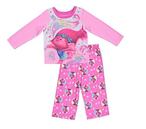 Trolls Movie DreamWorks Girls Pajamas - 2-Piece Long Sleeve Pajama Set (Pink, 3T) -