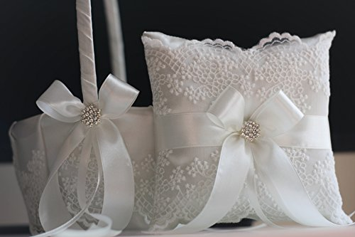 Off white Lace Flower Girl Basket and Ring Bearer Pillow Set for Wedding / Handmade Antique White Wedding Ring Pillow & Basket Set with Rhinestone Brooch, Lace Collection - Antique Lace Collection