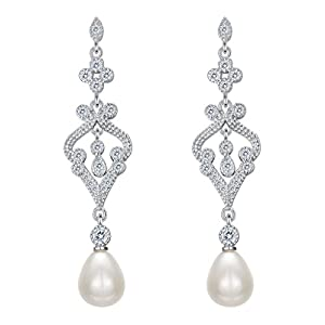 EVER FAITH 925 Sterling Silver CZ Freshwater Cultured Pearl Teardrop Chandelier Dangle Earrings