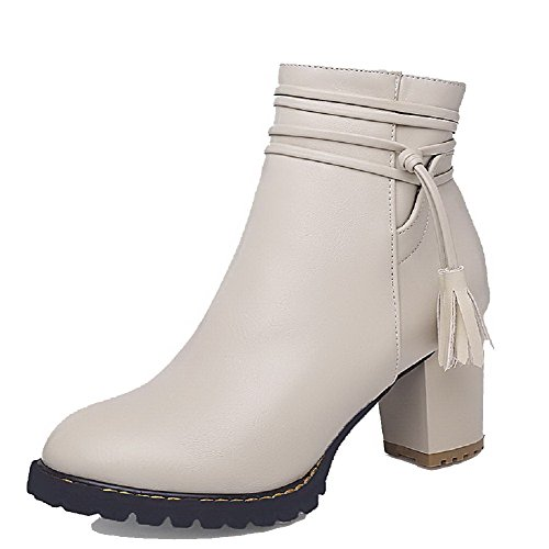 Allhqfashion Women's Solid PU Kitten-Heels Zipper Closed Round Toe Boots Beige