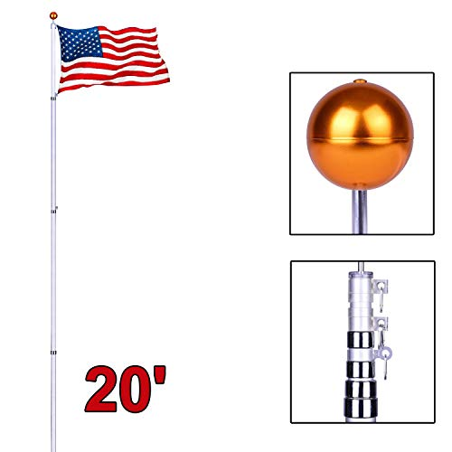 Long World 20ft Telescopic 16 Gauge Aluminum Flagpole w/3'x5' American Flag and Gold Ball Top Kit Fly 2 Flags (20FT)