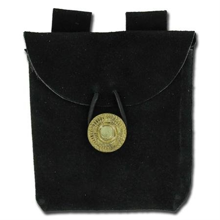 Sca Medieval Costumes (Medieval Renaissance Leather Black Suede Pouch)