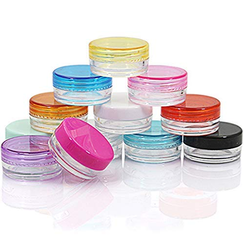 33847bc394e3 Yyzko Small capacity 30 pieces random color Empty Clean Plastic circular  bottom Cosmetic Container with Multi-color Lids Clear body 2 Gram Size Pot  ...