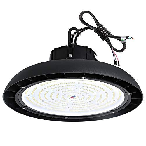 Hykolity 200W UFO LED High Bay Light Fixture, 26000lm 1-10V dimmable 5000K DLC Complied [750w MH/HPS Equivalent] Motion Sensor Optional, Indoor Commercial Warehouse/Workshop/Wet Location Area Light