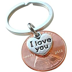 I Love You Heart Charm Layered Over 2012 Penny Keychain, 5 Year Anniversary Gift, Birthday Gift, Couples Keychain Valentine's Day Gifts Idea