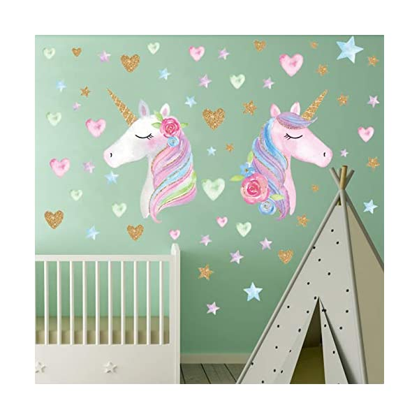 2 Sheets Large Size Unicorn Wall Decor,Removable Unicorn Wall Decals Stickers Decor for Gilrs Kids Bedroom Nursery… 8