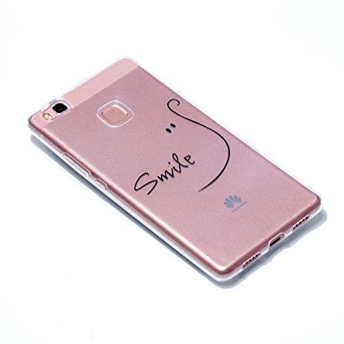 Huawei P9 Lite Hülle, Huawei P9 Lite Case , Huawei P9 Lite Schutzhülle , Cozy Hut Extra Dünne Soft Huawei P9 Lite Case Schale Anti-Fingerabdruck Stoßfest Bumper Case Handyhülle Schutzhülle ,Plating Ul lächeln
