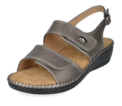 DREAM PAIRS Women's Truesoft_03 Pewter Low Platform Wedges Slingback Sandals Size 9.5 B(M) US