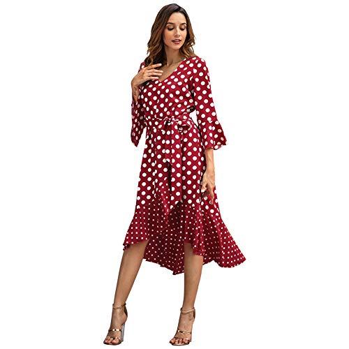 7e4b9e87424e Donna Spiaggia Un Partito Punto Manica Abito Quinto Vestito Red Bohemian Da  D onda Chemisier Elegante Mini Estivo ...