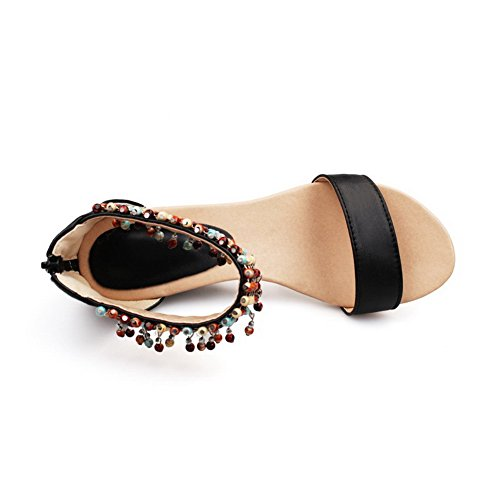 AmoonyFashion Chains Material Soft Heels Wedges Solid Open Black Kitten Sandals Toe Womens r4wYr6