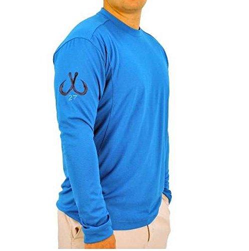 (Montauk Tackle Co Men's Performance Long Sleeve Crew Neck Shirt,Napeaque Blue,US)