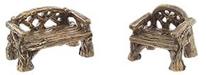 Paquete de 2 artículos de jardín de hadas en miniatura – Banco y silla rústico de Woodland