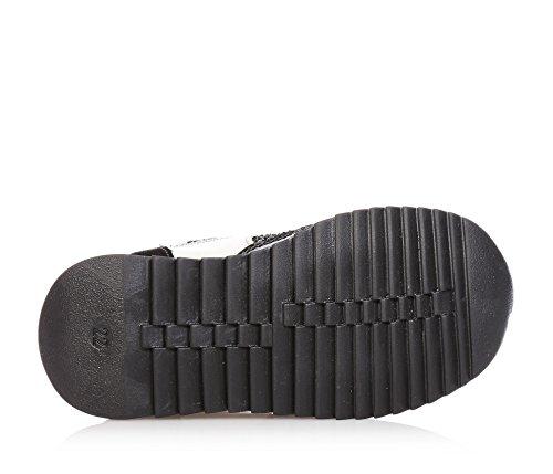 MISS GRANT - Schwarzer Schuh mit Schnürsenkeln aus Leder, eleganter und faszinierender Stil, obere Borte aus Stoff, Vorderseite mit Glitzern, Mädchen