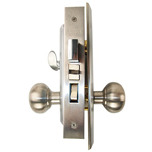 Marks New Yorker 7NY10A/26D, Satin Chrome US26D Right Hand Mortise Entry Lock Set, Screwless Knobs Thru-Bolted Lockset (RIGHT-HANDED) by Marks USA