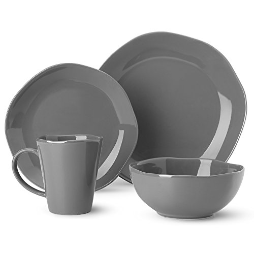 Dishes Dinnerware Set Irregular Glaze Dishware Set,Tableware Set One Set Service for One Person, Grey