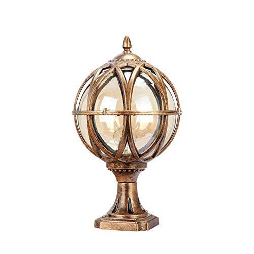 Skingk Aluminium Die-Casting Glass Outdoor Waterproof IP55 Column Light Globe Pillar Post Lamps Lantern Creative Ball E27 Bollard Light Patio Porch Gate Street Lighting Fixture (Size : 40cm) ()