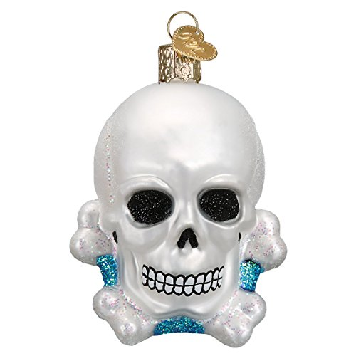 Old World Christmas Glass Blown Ornament with S-Hook and Gift Box, Halloween Collection (Skull And Crossbones)