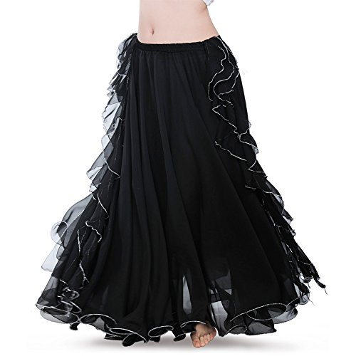ROYAL SMEELA Women's Belly Dance Chiffon Skirt ATS Voile Maxi Full Dress Bellydance Skirts Black One ()
