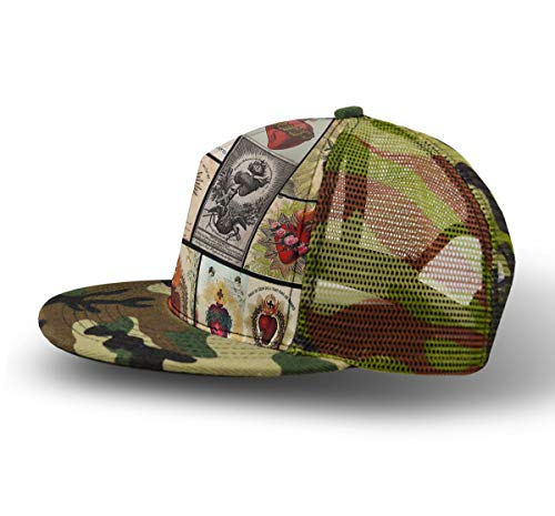 YongColer Adjustable Snapback Camouflage Baseball Cap, Sacred Heart College Cross Heart Cap Unisex Hip Hop Flatbrim Hats for Hunting Fishing Outdoor Activities ()
